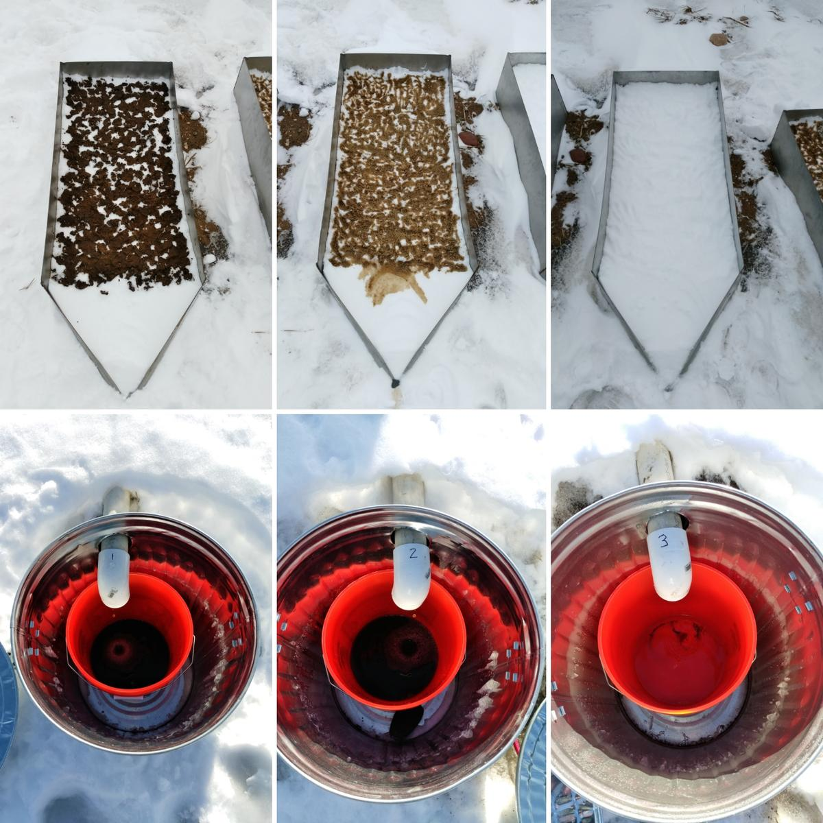 Runoff water after manure application of 15% solids manure, 3% solids manure, and no manure.
