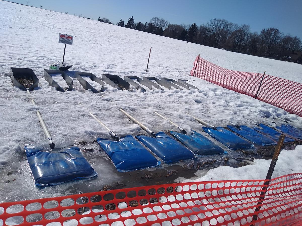 Winter manure runoff study with full water collection bags after a runoff event.